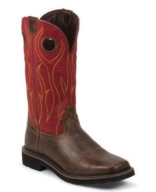 Justin Stampede Men's Red/Barnwood Boots #WK4614