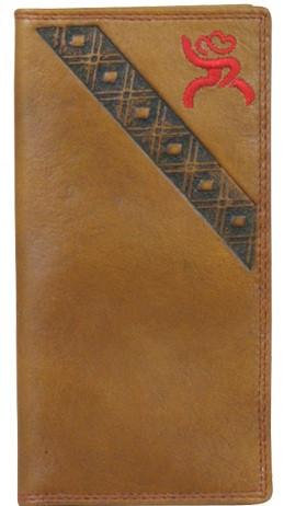 HOOEY ROUGHY SIGNATURE BROWN RODEO WALLET WITH RED LOGO