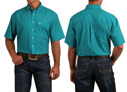 Cinch Arenaflex Turquoise Short Sleeve Button Down