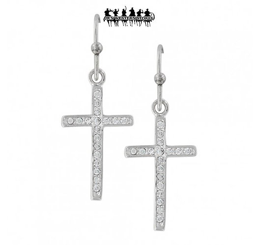 Simple Rhinestone Cross Earrings