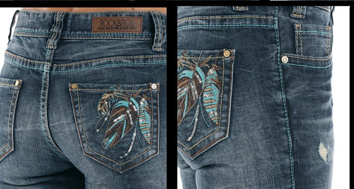 ROCK & ROLL DENIM  MULTI COLOR FEATHE