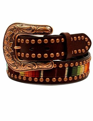 Ariat Western Belt Womens Serape Fabric Leather Copper Studs A1526097