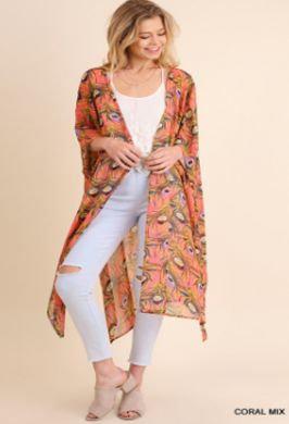 UMGEE Open Front PEACOCK Print Kimono CORAL MIX N4008