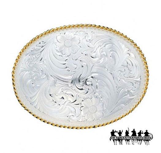 Large Silver Engraved Western Belt Buckle with Gold Trim