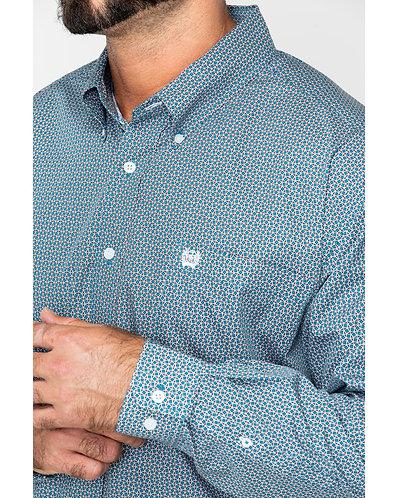 Cinch Men's Blue Print L/S Button Down Shirt
