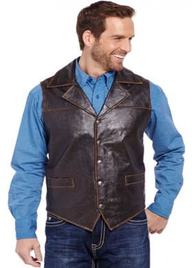 Cripple Creek Hand Sanded Snap Front Collared Vest leather