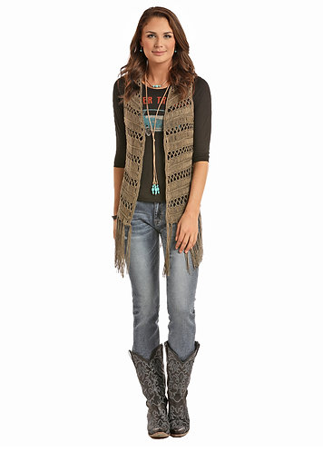 ROCK & ROLL COWGIRL  LONG CROCHET VEST