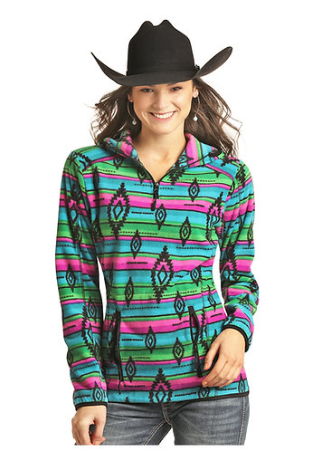 ROCK & ROLL COWGIRL SERAPE AZTEC FLEECE