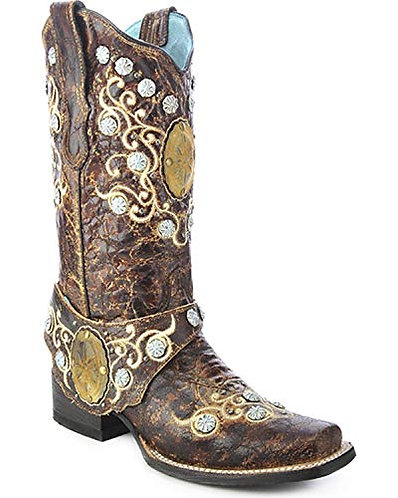 Corral Brown Concho and Side Harness Boots