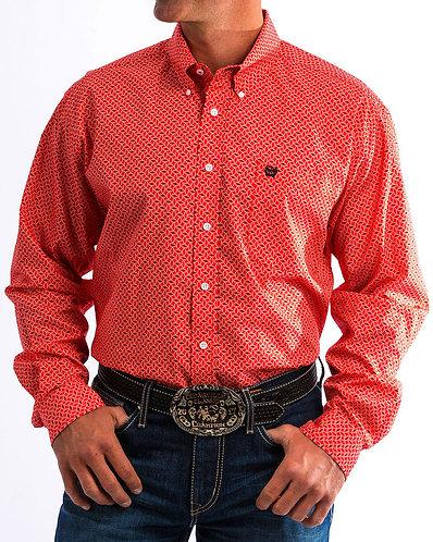 Cinch Men's Red Western Printed Shirt