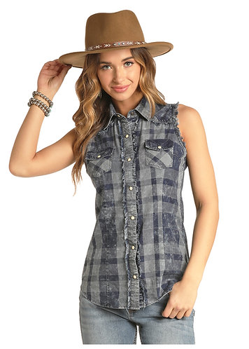 ROCK & ROLL COWGIRL SLEEVELESS PLAID