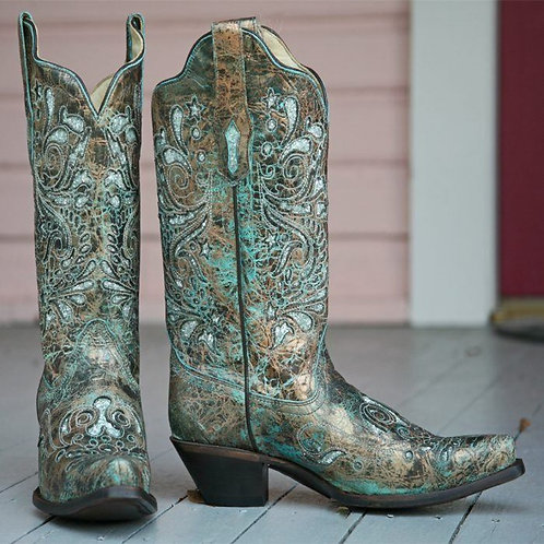 Corral Bronze/Turquoise Glitter Inlay Boots
