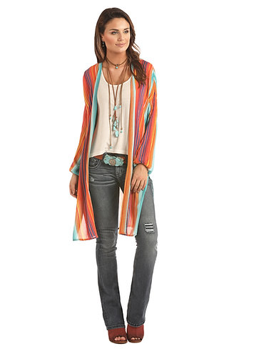ROCK & ROLL COWGIRL  SERAPE PRINT LONG DUSTER