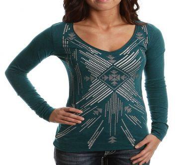 Panhandle Slim Women's Foil Aztec Teal Tops L8T6601 84 TEAL