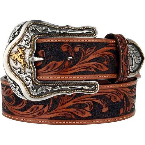 Tony Lama Men's Brown Western Tooled Belt - C41514