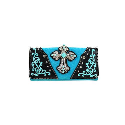 American Bling Turquoise Cross Wallet/Wristlet