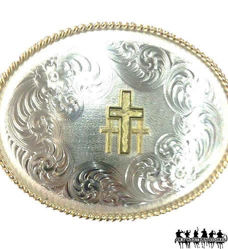 German Silver Triple Cross Cowboy Buckle