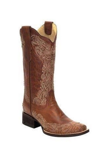 Corral Women's Embroidered/Studded Honey Boots