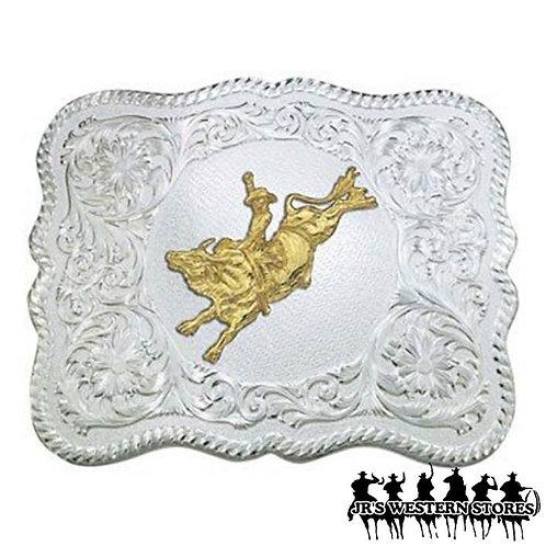 Scalloped Silver Bull Rider Western Belt Buckle