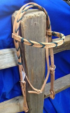 Headstall, BB S/P Ross 5/8 w/colored lace GREEN