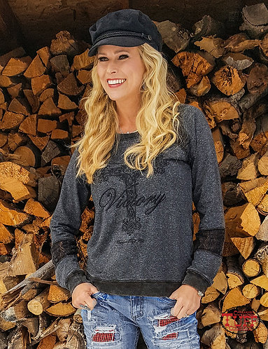 COWGIRL TUFF BLACK SLUB L/ S WITH BLACK LACE ACCENTS AND VICTORY CROSS EM