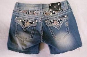 MISS-ME-Cut-Off-Denim-Jeans-Shorts-Bling-