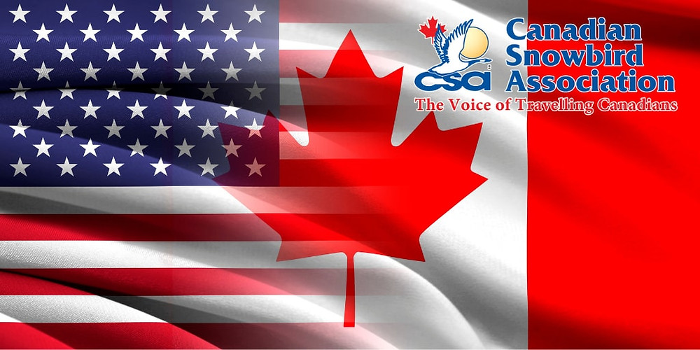 Mysmallbank.com photo of American and Canadian flag along with Canadian Snowbird Association, article details all there is to know about how the CSA can be cheaper alternative for cross boarder banking.