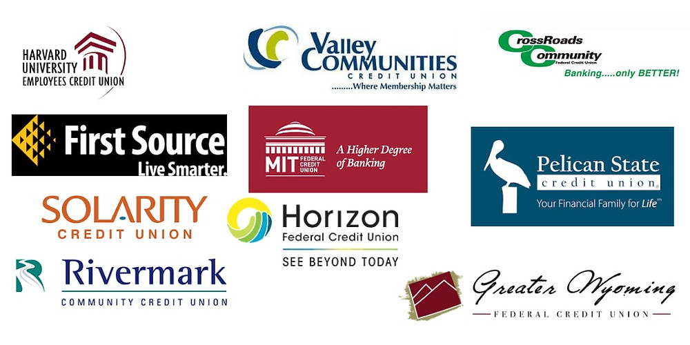 Mysmallbank.com review of top small/micro credit unions in the USA.  Image has logos of all 10 credit unions.  Starting left to right: Harvard University Employees Credit Union, Valley Communities Credit Union, Crossroads Community Federal Credit union. Next level: First source credit union, MIT federal credit Union, Pelican State credit union, Next: Solarity credit union, Horizon federal credit union, finally reivermakr community credit union and greater wyoming federal credit union.