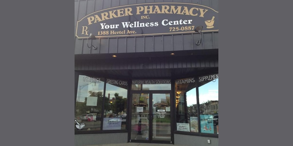 mysmallbank.com picture of parker pharmacy from outside the parking lot.