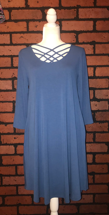 Lattice Pocket Swing dress-Blue Mist