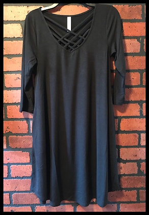 Lattice pocket swing dress-Black