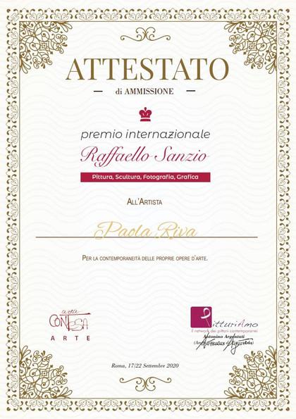 Attestato di Selezione Premio Internazionale Raffaello Sanzio - Roma