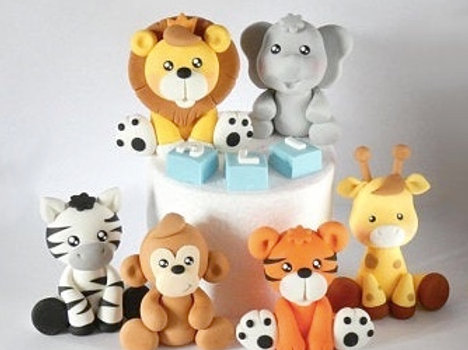 fondant animals cake toppers
