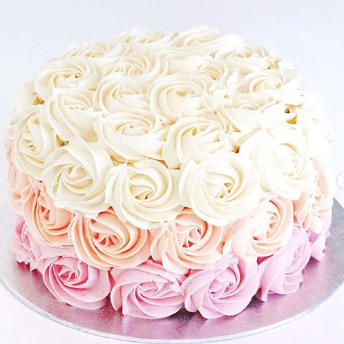 sombre buttercream cake with buttercream roses