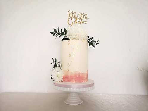 Elegant White and Pink Wedding Cake For A Small Dublin Wedding