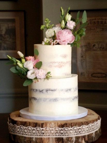 Champagne Coloured Semi Naked  Wedding Cake