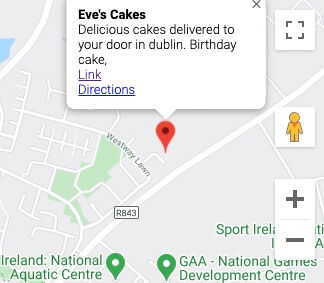 Evecakes in dublin Google maps location.