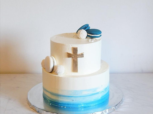 White and Blue Communion Cake