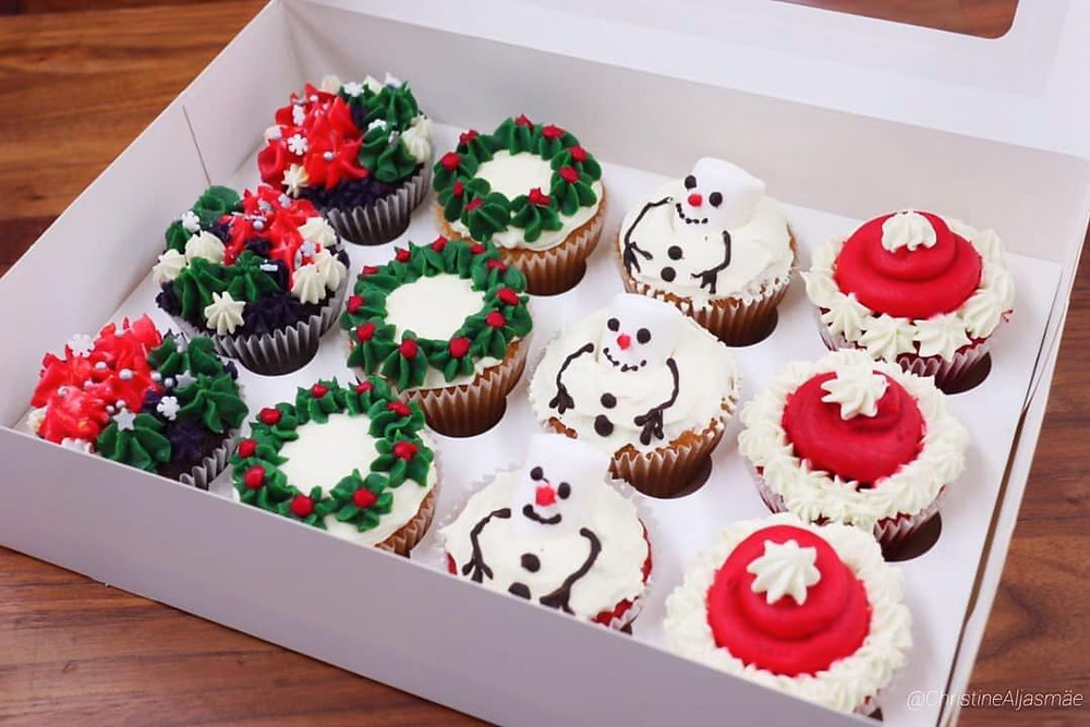 Christmas Cupcake Selection Box in dublin for delivery for christmas presents and gifts