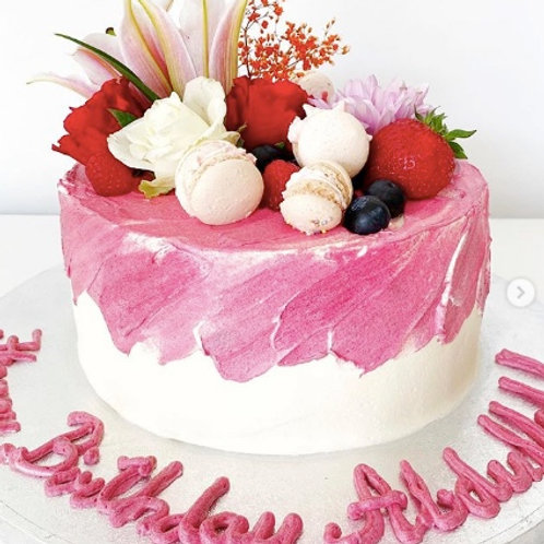 White and Pink Strokes with Macaroons and Flowers