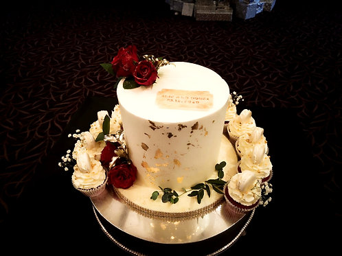 Small Gold Leaf and Burgundy Wedding Cake