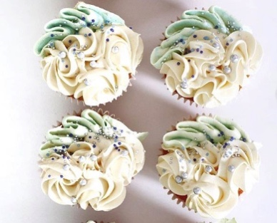 White and Teal Cupcakes