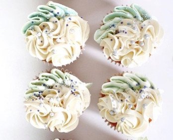 White and Teal Cupcakes Birthday Cupcakes Eves Cakes Dublin