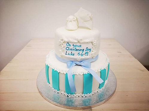 "White and Blue 2-tier Christening Cake, 8"" and 6"""