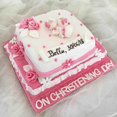Pink christening cake for girl with smal