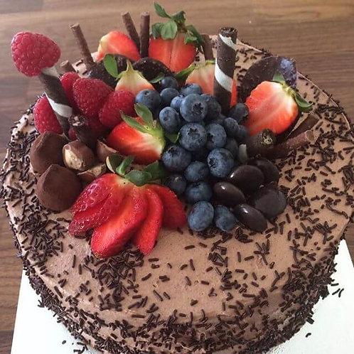 "Chocolate Cake Decorated with Seasonal Berries, 8"""
