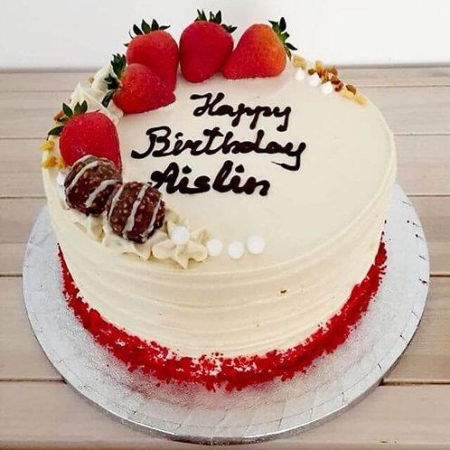 Red velvet happy birthday cake by Eve's cakes