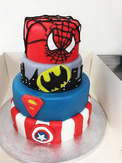 4 in 1 superhero biscuit cake: Spider-man, Batman, Superhero and Captain America