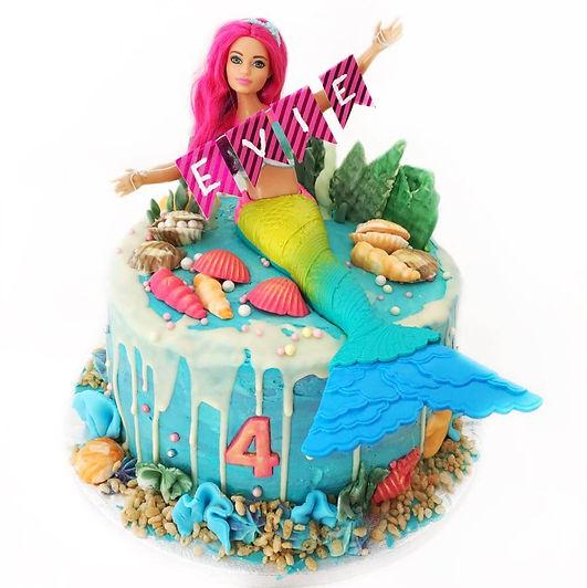 Mermaid style kids Birthday cake with pe