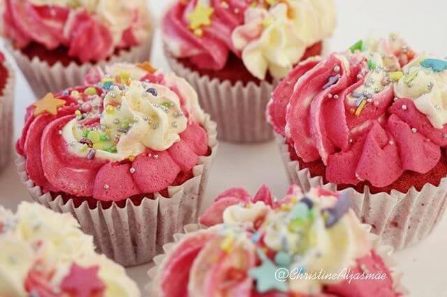 Pink Red Velvet Cupcakes